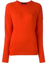Cedric Charlier Longsleeved Ribbed Pullover Yellow And Orange