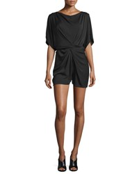 Diane Von Furstenberg Maxinne Short Sleeve Stretch Silk Romper Black