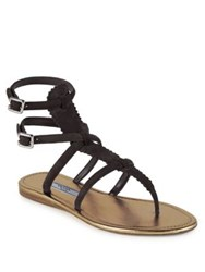 Prada Double Buckle Suede Thong Sandals Black
