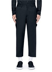 The World Is Your Oyster Slogan Patch Drape Front Pants Black