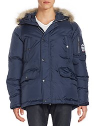 Pajar Fur Trim Hooded Utility Jacket Navy
