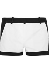 Michael Michael Kors Color Block Stretch Cotton Shorts Black
