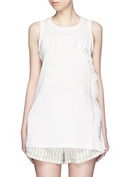 3.1 Phillip Lim Ruffle Silk Panel Sleeveless Jersey Top White