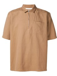 Norse Projects Short Sleeves Zip Shirt Brown