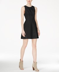 Armani Exchange V Back Fit And Flare Dress Solid Black