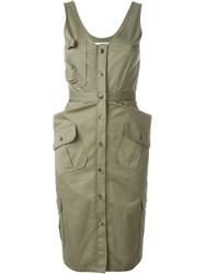 Chalayan Fitted Military Dress Green