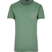 Only And Sons River Island Mens Green Raw Edge T Shirt