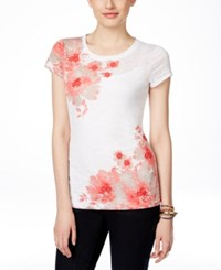 Inc International Concepts Short Sleeve Floral Print T Shirt Only At Macy's Polished Coral