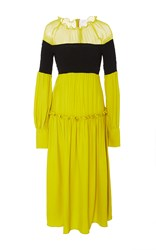 Azede Jean Pierre Open Shoulder Silk Smocked Dress Yellow
