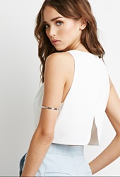 Forever 21 Scalloped Open Back Crop Top Cream