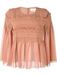 See By Chloe Smocked Sheer Blouse Pink And Purple