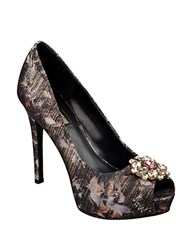Guess Crystal Printed Peep Toe Pumps Black