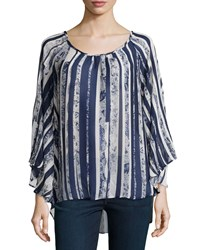On The Road Striped Flutter Sleeve Blouse Blue White