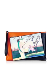 Mary Katrantzou Flamingo Print Detachable Leather Clutch