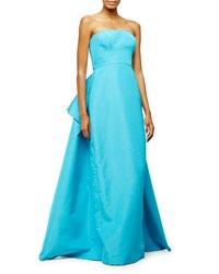 Pamella Roland Strapless Pleated Back Gown Aqua Blue