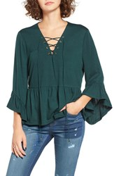 Moon River Women's Lace Up Bell Sleeve Top