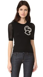 Boutique Moschino Short Sleeve Sweater Black