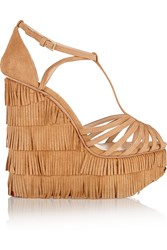 Charlotte Olympia Winona Fringed Suede Wedge Sandals Brown