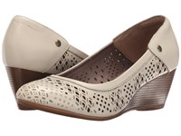 Hush Puppies Mindon Rhea Off White Leather Women's Wedge Shoes Beige