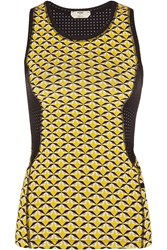 Fendi Mesh Paneled Printed Stretch Jersey Tank