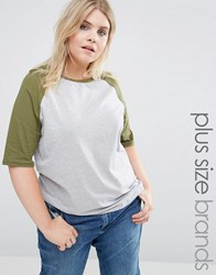 Alice And You Raglan Sleeve Jersey Tshirt Khaki Multi