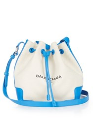 Balenciaga Canvas And Leather Bucket Bag Blue Multi