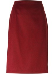 Jean Louis Scherrer Vintage Pencil Skirt Red