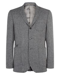Jaeger Herringbone Tweed Slim Jacket Grey