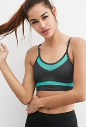 Forever 21 Low Impact Mesh Cami Sports Bra Charcoal Sea Green
