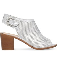 Carvela Audrey Peep Toe Leather Ankle Boots Silver
