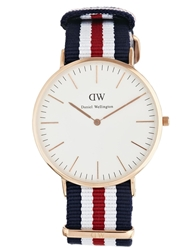 Daniel Wellington Canterbury Rose Gold Canvas Strap Watch Navywhitered