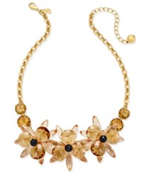 Kate Spade New York Gold Tone Blue Crystal Flower Collar Necklace Neutral Multi