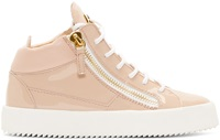 Giuseppe Zanotti Pink Patent Leather High Top Sneakers
