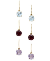 Victoria Townsend Amethyst Garnet And Blue Topaz Drop Earrings Set In 18K Gold Over Sterling Silver 5 3 8 Ct. T.W.