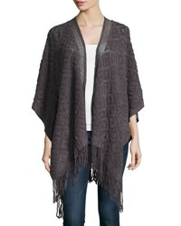 Neiman Marcus Diamond Knit Blanket Wrap Charcoal