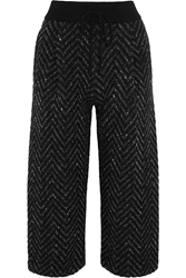 Valentino Cropped Zigzag Wool Blend Wide Leg Pants