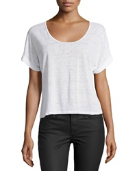 Candc California C And C California Scoop Neck Rolled Cuff Cropped Tee White