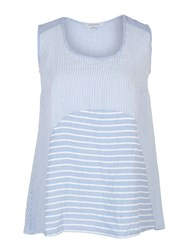 Chesca Mixed Stripe Linen Camisole Blue