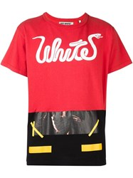 Off White Patchwork T Shirt Red