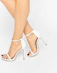 New Look Leather Barely There Heeled Sandal White