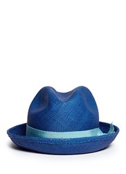 Sensi Studio Feather Straw Panama Trilby Hat Blue Multi Colour