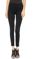 David Lerner Tuxedo Leggings With Faux Leather Black Black