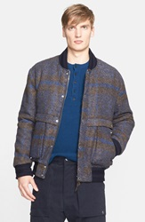 Umit Benan Plaid Bomber Jacket Navy Check