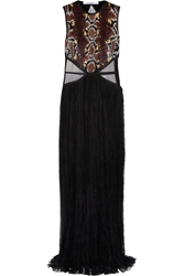 Givenchy Gown In Black Chantilly Lace And Sequined Tulle