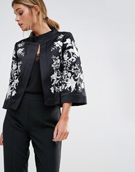 Ted Baker Abhy Wide Collar Jacket With Embroidery Black