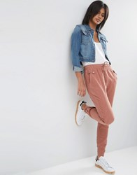 Asos Washed Casual Trousers With Poppers Tan Brown