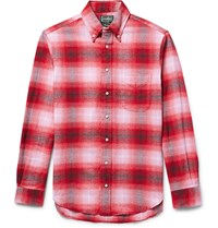 Gitman Brothers Vintage Button Down Collar Checked Cotton Flannel Shirt Red