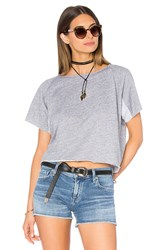 Monrow Cut Off Mini Raglan Sweatshirt Grey