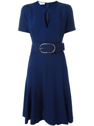 Stella Mccartney Keyhole Detail Belted Dress Blue