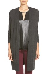 Trouve Women's Trouve Long Open Front Cardigan Grey Charcoal Heather